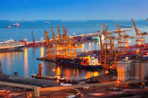 Port de Barcelona in night -  commercial/industrial port (Barcelona Free Port)